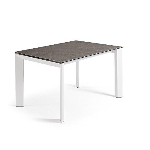 Kave Home - Mesa de comedor extensible Axis rectangular 120 (180) x 80 cm de porcelana Vulcano Ce con patas de acero en color blanco
