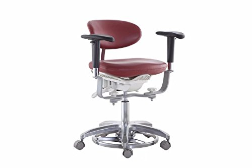 Doc.Royal Sewn PUFabric Leather New Microscope Dynamic Stool Mobile Chair Foot Controlled with 45°Swiveling Armrests MDS-FC1 (Red)