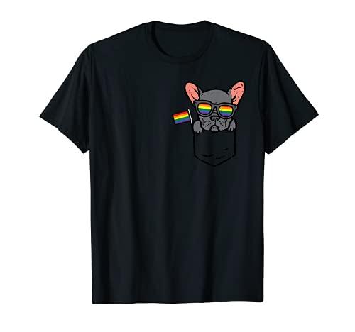 French Bulldog Frenchie Dog Pocket LGBTQ Rainbow Gay Pride T-Shirt