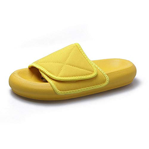 B/H Sandalias de Punta Descubierta para Mujer,Par de Sandalias y Zapatillas de Velcro.Zapatillas de Playa de Pan Gordo de Suela Gruesa-Yellow_Hombres 35,Zapatillas de Masaje para Mujer