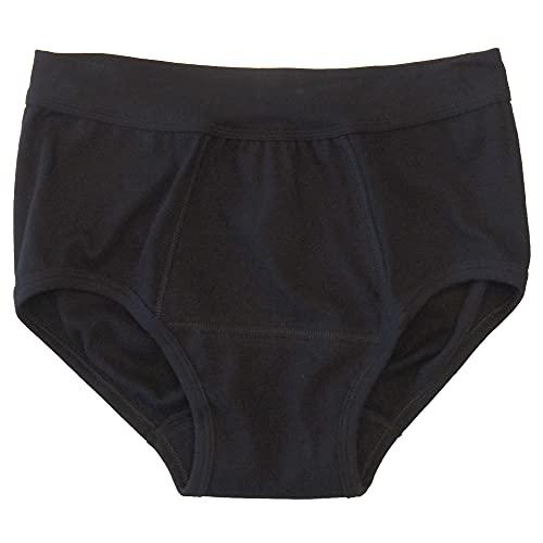 HERMKO 993265 Herren Inkontinenz Slip mit Weichbund aus Bio-Baumwolle wasserdicht, Größe:D 7 = EU XL, Farbe:schwarz