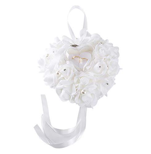 Juego de cojines para anillos de regalo de San Valentín hechos a mano con anillo de diamante