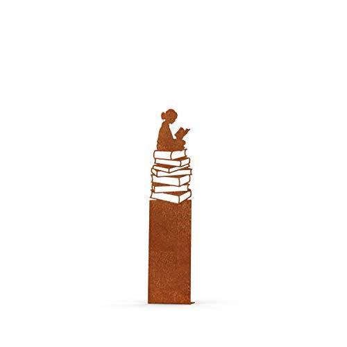 MEILLER MetallDesign | Stele LESENDES MÄDCHEN aus Metall für die Gartendekoration (Cortenstahl) 90 cm zum Aufdübeln