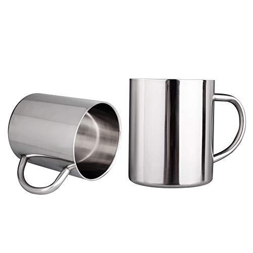 IMEEA 400ml Gebürstete Edelstahl Doppelwandig-Becher Tee Cup Trank Cup für Kinder, Set mit 2 Stück