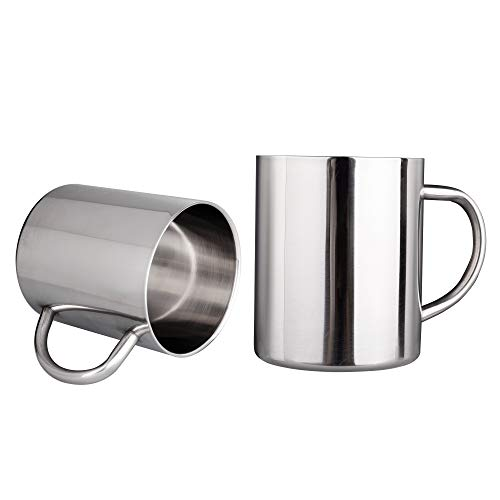 IMEEA Tea Cup Stainless Steel Double Wall Mugs 400ml(13.5oz) for Drinking Tea Coffee Hot Soup Set of 2