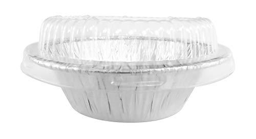 Disposable Aluminum 4' Deep Mini Pie/ Tart Pan with Clear Dome Lids 1152P (50)