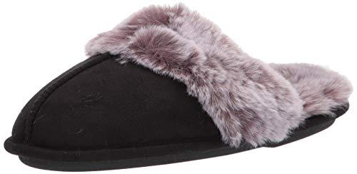 Jessica Simpson Women's Comfy Faux Fur House Slipper Scuff Memory Foam Slip on Anti-skid Sole, Black, Large