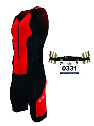 Kona II Men's Triathlon Suit - Sleeveless Speedsuit Skinsuit Trisuit with Storage Pocket and Bonus Race Bib Belt (Red/Black, Medium)