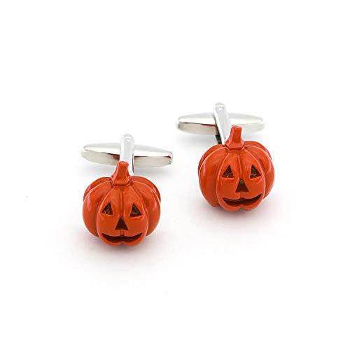 LLDEJUSH Herren Halloween Kürbis Laterne Manschettenknöpfe Kupfer Material Orange Farbe