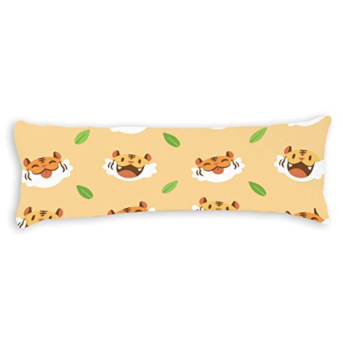 CiCiDi Side Sleeper Pillow Cover 40x145 cm Tiger Animal Face Breathable Cushion Covers with Zip Cotton and Polyester