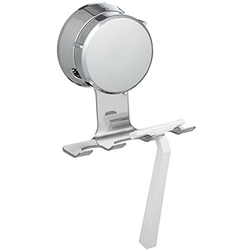 HOME SO Razor Holder with Suction Cup Hanger - Antibacterial Bathroom Organizer Holds up to 3 Razors Shavers - Stainless Steel Chrome - Removable Reusable Stick on Bathroom Mirror or in Shower
