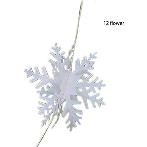 Ornements de Flocon de Neige Argent stéréoscopique 3D Confitures Guirlande de chaîne Guirlande Noël Nouvel an décoré de Flocon de Neige de Noël (Blanc) -BCVBFGCXVB