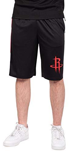 Ultra Game NBA Houston Rockets Mens Mesh Basketball Shorts, Black, Small