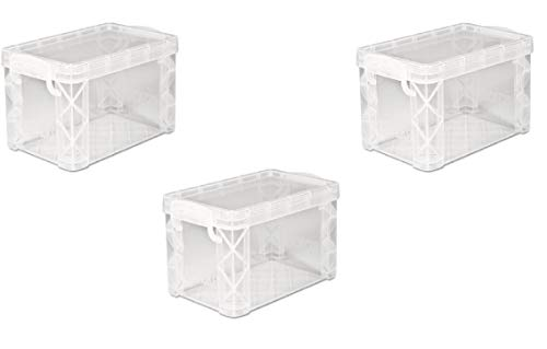 Advantus Super Stacker Storage Boxes, Hold 400 3 x 5 Cards, Plastic, Clear, 3 Boxes