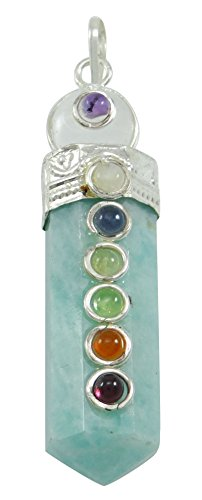 Harmonize Lápiz Wand 7 Terapia de Equilibrio de Chakra Amazonita Colgante de Piedra de Equilibrio Cristales Reiki