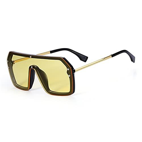 Gafas De Sol Gafas De Sol Cuadradas De Gran Tamaño Negro De Una Pieza De Una Pieza De Lentes De Una Pieza Gafas De Sol De Marco Grande para Mujer Uv400 Espejo De Plata-C4