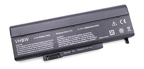 vhbw Batterie 6600mAh pour Notebook M-150XL Slate Grey Ridgeview