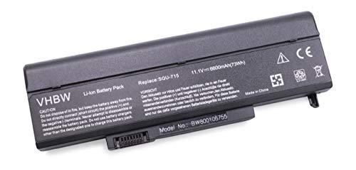 vhbw Batterie 6600mAh pour Notebook Gateway remplace DAK100520-010802L SQU-715 SQU-719 SQU-720 SQU-721 W35044LB W35044LB-SP W35044LB-SP1 W35044LB-SY.