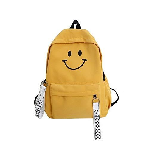 XTYZY Cara sonriente linda Mujeres Mochila Niñas Cintas de gran capacidad Borlas Bolso de viaje escolar Mochila de libros Emoji Nylon