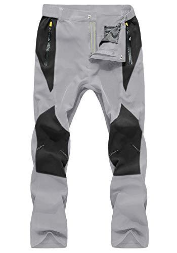 KEFITEVD 釣りパンツ 撥水 フィッシングウェア メンズ アウトドア パンツ 作業ズボン 大きい ライトグレー JP XL