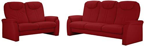 Cavadore Sitzgruppe Canta / 3-Sitzer Sofa mit Bettfunktion und 2-Sitzer Sofa mit Relaxfunktion / 3er Sofa: 222 x 109 x 90, 2er Sofa: 161 x 109 x 90 / Echtleder Rot