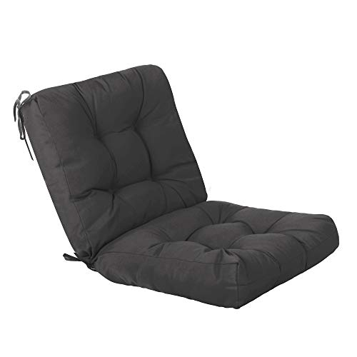 QILLOWAY Outdoor Seat/Back Chair Cushion Tufted Pillow , Spring/Summer Seasonal All Weather Replacement Cushions. (Dark Grey)