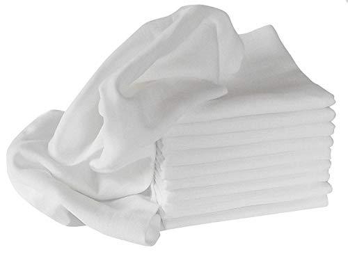Mullwindel/Spucktücher/Stoffwindeln, 10er Pack, weiss, 80x80 cm, 100% Baumwolle, doppelt gewebt, zertifizierte Herstellung, kochfest 95°
