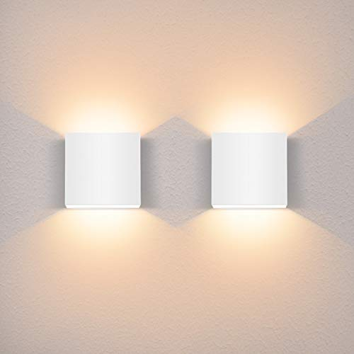 Glighone LED Wandleuchten Indoor, 2Pcs LED Wandleuchte Up Down 6W Modern Wandlampe LED Wandleuchte Innen Leuchten für Wohnzimmer, Schlafzimmer, Flur, Balkon, Treppenhaus - Warmweiß
