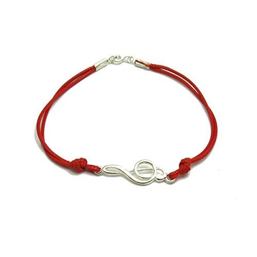 Pulsera de plata de ley 925 Clave de sol con cuerda roja