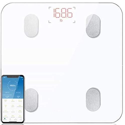 FGSHA Körperfettwaage, Bluetooth Personenwaage mit App, Smart Digitale Waage für Körperfett, BMI, Gewicht,Wasser, Protein, Muskelmasse, BMR, Weiß