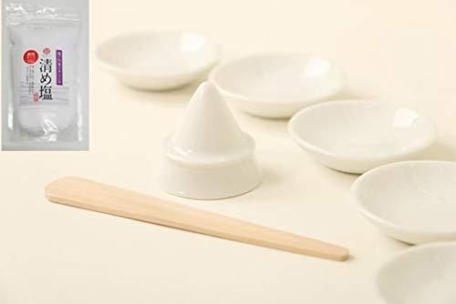Lupo(ルポ) 盛り塩 セット 開運 ■国産 陶器■お得用■盛塩 セット 盛塩器+皿 5枚付き+ 清め塩350g + ヘラ 付き