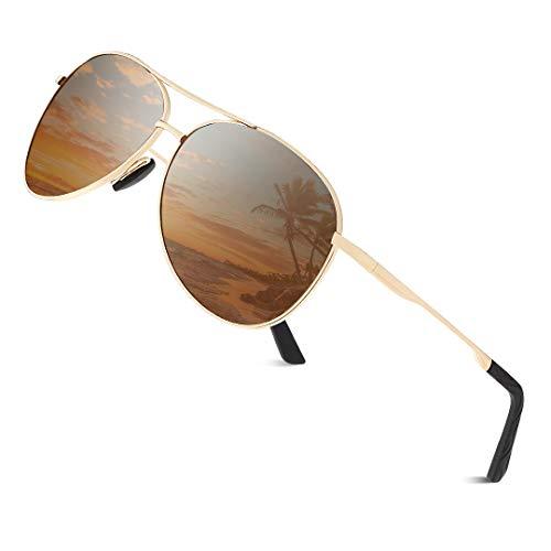 Cyxus Gafas de sol para hombre, Polarizadas Retro Spring Hinge 100% UV 400 Protección Gafas (Marco Dorado/Lente Marrón #)