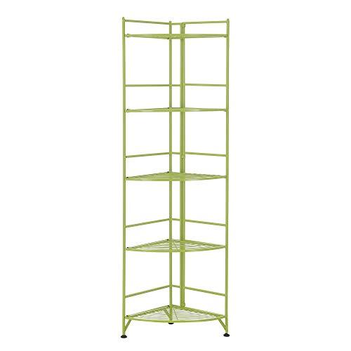 Convenience Concepts Xtra Storage 5-Tier Folding Metal Corner Shelf, Lime