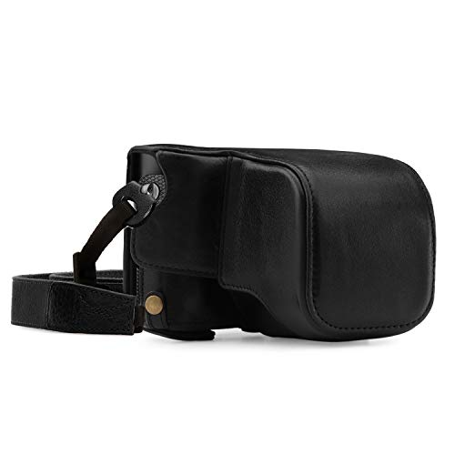 Mega Gear MG1402 Leica Q-P, Q (Typ 116) Ever Ready Genuine Leather Camera Case and Strap, with Battery Access, Black