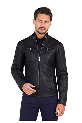 Chaqueta para hombre, estilo moto, color negro, con bolsillos, de piel ecológica