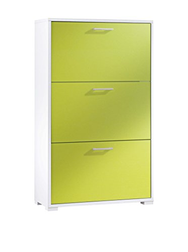 FMD Möbel Scarpiera, MDF, Bianco/Verde, 14 x 40 x 136 cm