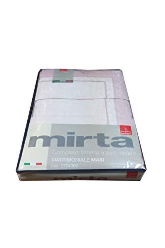 Manifattura Imberti - Art.ATENE - Completo Lenzuola Flanella Matrimoniale Mis. Maxi 270X300cm. col.Rosa/Malva
