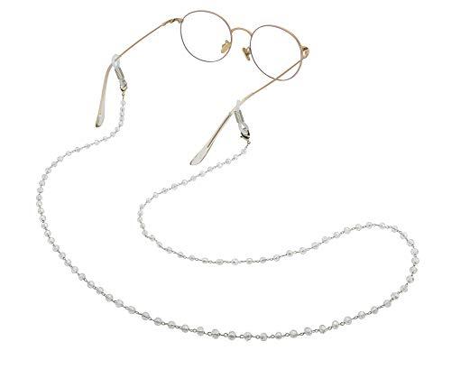 Amaxer Cadena para gafas de mujer con cuentas blancas y correa de...