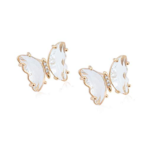 SALAN Transparent Crystal Glass Butterfly Earrings For Women Girls Fashion Korean Stud Earring Jewelry Party Gifts