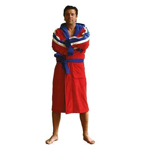 Funky badjas - heren badjas - blauw of rood - diversen maten - velours katoen - capuchon - met borduring -kuitlengte badjas - CHAMP