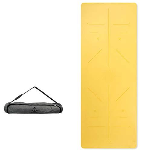 hsj LF- Esterilla de yoga antideslizante para principiantes, para hombre y mujer, de goma natural, antideslizante, color amarillo