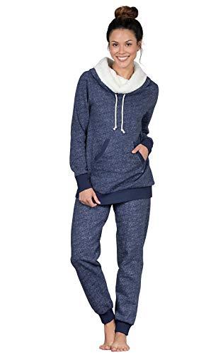 PajamaGram Cozy Womens Pajama Sets - Winter Pajamas for Women, Navy, S, 4-6