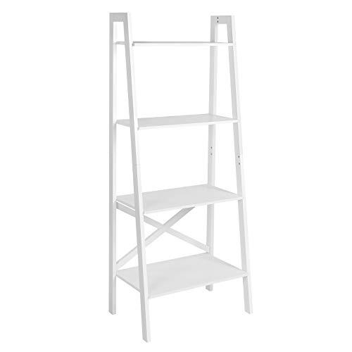 VASAGLE Standregal, Leiterregal mit 4 Ebenen, Bücherregal, Anstellregal, für Wohnzimmer, Schlafzimmer, Küche, Büro, mattweiß LLS200W01