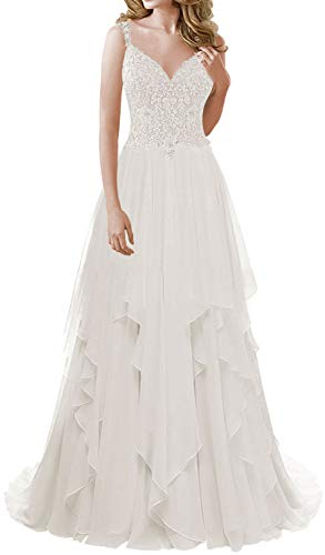 Wedding Dress for Bride Lace Bridal Dresses Beach Ruffles A line Wedding Gown with Straps Bridal Gown White (Apparel)