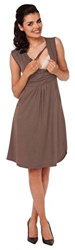 Zeta Ville – Damen Still Kleid Diskretes Stillen Skaterkleid Schwangere – 500c (Cappuccino) - 5