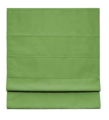 Easydeco - Estor Plegable loneta Premium con Varillas (Verde, 75_x_175_cm)