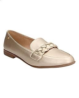 حذاء لوفرز جلد صناعي مزين بخياطة وشريط مضفر للنساء من ديجافو