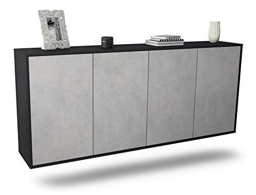 Dekati Sideboard Lakewood hängend (180x77x35cm) Korpus anthrazit matt | Front Beton Optik | Push-to-Open