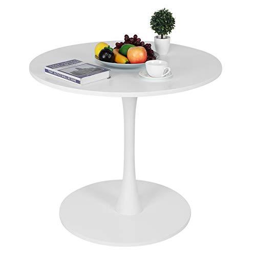 Mesa auxiliar redonda simple, mesa de comedor de estilo nórdico, mesa auxiliar, sala de estar, mesa de centro blanca, sofá MDF, con base de metal para restaurante, terraza, oficina, 80x71cm(blanco)