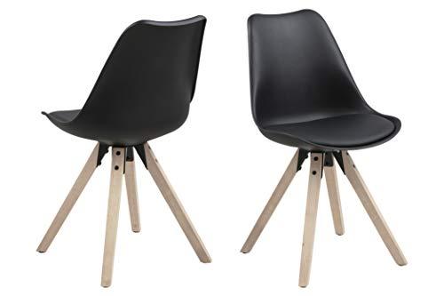Marca Amazon – Movian Arendsee – Juego de 2 sillas de Comedor, 55 x 55 x 85 cm, Color Negro